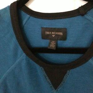True Religion L/S Raglan Crew Logo T Shirt Aqua